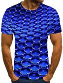 Χαμηλού Κόστους Ανδρικά μπλουζάκια και φανελάκια-Ανδρικά Μεγάλα Μεγέθη T-shirt Κομψό στυλ street Γεωμετρικό / 3D / Γραφική Στρογγυλή Λαιμόκοψη Πλισέ / Στάμπα Θαλασσί / Κοντομάνικο