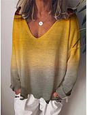 billige Gensere til damer-T-skjorte Dame - Fargeblokk Gul