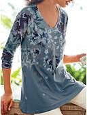 ราคาถูก ชุดเดรสพิมพ์ลาย-สำหรับผู้หญิง ขนาดพิเศษ เสื้อเชิร์ต คอวี ลายดอกไม้ สีม่วง
