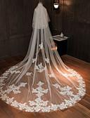 ราคาถูก ม่านสำหรับงานแต่งงาน-Two-tier คลาสสิกและถาวร ผ้าคลุมหน้าชุดแต่งงาน ผ้าคลุมหน้าในโบสถ์ กับ เข็มกลัด / ไม่มีลาย 181.1 นิ้ว (460ซม.) Tulle