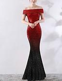 Χαμηλού Κόστους Βραδινά Φορέματα-Τρομπέτα / Γοργόνα Ώμοι Έξω Ουρά Πολυεστέρας Μπλοκ χρωμάτων Επίσημο Βραδινό Φόρεμα 2020 με Πούλιες