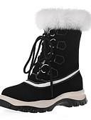 cheap Women's Fur & Faux Fur Coats-Women's Boots Flat Heel Round Toe Cowhide Mid-Calf Boots Winter Black