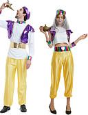 billige AirPods Cases-Aladdin Cosplay Kostumer Drakter Maskerade Voksne Par Cosplay Halloween Halloween Festival / høytid Polyester Lilla / Gul Par Karneval Kostumer