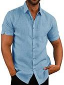 baratos Camisas Masculinas-Homens Camisa Social Sólido Preto