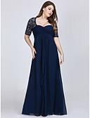 ราคาถูก Special Occasion Dresses-A-line คอสวีทฮาร์ท ลากพื้น ชิฟฟอน / ลูกไม้ See Through ทางการ แต่งตัว กับ ปักลายปัก โดย LAN TING Express