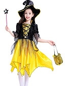 cheap Girls' Dresses-Kids Girls' Color Block Half Sleeve Asymmetrical Dress Yellow