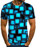 baratos Camisetas & Regatas Masculinas-Homens Camiseta Moda de Rua / Exagerado Estampado, Geométrica / Estampa Colorida / 3D Azul Claro