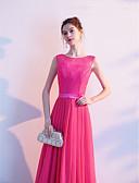 povoljno Maturalne haljine-A-kroj Ovalni izrez Do poda Čipka Prom Haljina s Drapirano / Vez po LAN TING Express