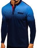 ราคาถูก เสื้อโปโลสำหรับผู้ชาย-สำหรับผู้ชาย ขนาดของยุโรป / อเมริกา Polo คอเสื้อเชิ้ต ลายบล็อคสี สีดำ / แขนยาว