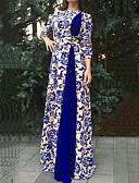 baratos Vestidos para as Mães dos Noivos-Mulheres Tamanhos Grandes Vintage Elegante Vestido - Estampado, Estampado Cashemere Longo