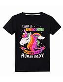 olcso Lány ruhák-Gyerekek Lány Alap Unicorn Nyomtatott Rövid ujjú Póló Fekete