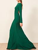 ราคาถูก Special Occasion Dresses-ชีท / คอลัมน์ คอซอง ชายกระโปรงลากพื้น เส้นใยสังเคราะห์ เปิดหลัง ทางการ แต่งตัว กับ พลีท โดย LAN TING Express