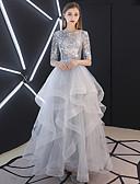 Χαμηλού Κόστους Φορέματα κοκτέιλ-Βραδινή τουαλέτα Με Κόσμημα Μακρύ Τούλι / Με πούλιες Κομψό & Πολυτελές / Φανταχτερό Χοροεσπερίδα Φόρεμα 2020 με Βαθμίδες / Με διαδοχικές σούρες