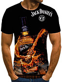 cheap Men's Tees & Tank Tops-Men's Weekend Street chic Plus Size T-shirt - 3D / Cartoon / Letter Pleated / Print Round Neck Black / Short Sleeve