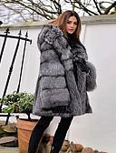 olcso Női szőrme és műszőrme kabátok-Női Parti / Napi Alap Tél Szokványos Faux Fur Coat, Egyszínű Kapucni Hosszú ujj Műszőrme Szürke