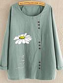 billige T-skjorter til damer-T-skjorte Dame - Blomstret Svart