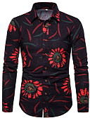 billige Herreskjorter-Skjorte Herre - Blomstret Svart