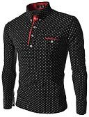 ราคาถูก เสื้อโปโลสำหรับผู้ชาย-สำหรับผู้ชาย Polo ธุรกิจ / สง่างาม สีพื้น / ลายจุด สีดำ
