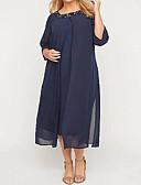 billige Ballkjoler-A-linje Besmykket Ankellang Chiffon 3/4 ermer Elegant & Luksuriøs Kjole til brudens mor med Perlearbeid / Ruchiing 2020