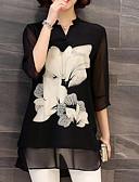 billige Kjoler med trykk-Skjorte Dame - Blomstret Svart