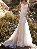 Χαμηλού Κόστους Νυφικά-Τρομπέτα / Γοργόνα Λαιμόκοψη V Ουρά Δαντέλα Ιμάντες Mordern Illusion Λεπτομέρειες Φορέματα γάμου φτιαγμένα στο μέτρο με Κουμπί / Εισαγωγή δαντέλας 2020
