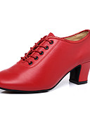 cheap Women's Shirts-Women's Dance Shoes Nappa Leather Latin Shoes / Jazz Shoes / Modern Shoes Paillette Heel Thick Heel Black / Dark Red / Dark Red / Performance