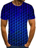 baratos Camisetas & Regatas Masculinas-Homens Camiseta Moda de Rua Pregueado / Estampado, Poá / Geométrica / 3D Azul