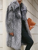 olcso Férfi dzsekik és kabátok-Férfi Napi Hosszú Faux Fur Coat, Egyszínű Lehajtott gallér Hosszú ujj Műszőrme Szürke