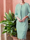 זול תחרה רומטנית-שני חלקים עם תכשיטים באורך  הברך שיפון / תחרה שמלה לאם הכלה  עם פרטים מקריסטל / סרט / סלסולים על ידי LAN TING Express / עטיפה כלולה