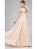 ราคาถูก Special Occasion Dresses-A-line Illusion Neckline ลากพื้น ชิฟฟอน / Tulle / เลื่อม เปิดหลัง / See Through ทางการ แต่งตัว กับ เข็มกลัด / พลีท โดย LAN TING Express