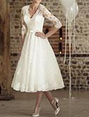 billiga Brudklänningar-A-linje V-hals Telång Spets / Tyll Halvlång ärm Vintage Liten vit klänning Bröllopsklänningar tillverkade med 2020