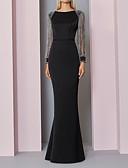 baratos Vestidos de Noite-Sereia Decorado com Bijuteria Longo Poliéster Elegante Evento Formal Vestido 2020 com Detalhes em Cristal