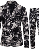 ราคาถูก เบลเซอร์ &สูทผู้ชาย-สำหรับผู้ชาย ชุด ปกคอแบะของเสื้อแบบผ้าคลุม ฝ้าย สีดำ