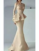 Χαμηλού Κόστους Βραδινά Φορέματα-Τρομπέτα / Γοργόνα Χαμόγελο Ουρά Σατέν Κομψό Επίσημο Βραδινό Φόρεμα 2020 με Βολάν