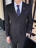 billige Dresser-Svart / Blå / Grå Stripet Slank Fasong Polyester Dress - Spiss Dobbelt-brystet Fire-knappet / drakter