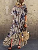 baratos Vestidos Longos-Mulheres Chifon Vestido - Estampado, Estampa Colorida Longo