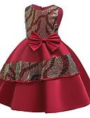 povoljno Beba & Djeca-Djeca Djevojčice Osnovni Slatka Style Color block Šljokice Mašna Kolaž Bez rukávů Do koljena Haljina Crn
