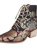 olcso Lány ruhák-Női Csizmák Nyomtatási cipő Vaskosabb sarok Kerek orrú Vászon Magas szárú csizmák Ősz & tél Szivárvány