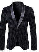 ราคาถูก เบลเซอร์ &สูทผู้ชาย-สำหรับผู้ชาย เสื้อคลุมสุภาพ ปกคอแบะของเสื้อแบบผ้าคลุม เส้นใยสังเคราะห์ สีดำ / สีน้ำตาลอ่อน