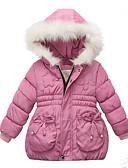 olcso Bébi divat-Baba Lány Alap Egyszínű Hosszú ujj Pamut Toll és pamuttal bélelt Arcpír rózsaszín / Kisgyermek