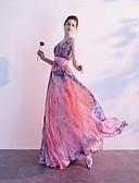 ราคาถูก Special Occasion Dresses-A-line คอวี ลากพื้น ชิฟฟอน ทางการ แต่งตัว กับ จีบ / แพทเทิร์นหรือลายพิมพ์ โดย LAN TING Express