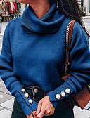 baratos Suéteres de Mulher-Mulheres Sólido Manga Longa Pulôver Camisola Jumper, Gola Alta Vinho / Cinza Claro / Azul S / M / L