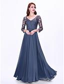 ราคาถูก Special Occasion Dresses-A-line คอวี ลากพื้น ชิฟฟอน / ลูกไม้ สไตล์วินเทจ ทางการ แต่งตัว กับ ปักลายปัก โดย LAN TING Express