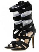 ราคาถูก ชุดเดรสวินเทจ-สำหรับผู้หญิง รองเท้าส้นสูง ส้น Stiletto ที่สวมนิ้วเท้า ตารางไขว้ ฤดูร้อน สีดำ / สีเหลือง