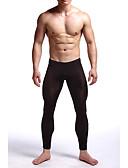 ราคาถูก ชุดลำลองชาย-สำหรับผู้ชาย ปกติ ไนลอน / สแปนเด็กซ์ ซูเปอร์เซ็กซี่ Long Johns สีพื้น ลายต่อ ข้อมือระดับกลาง