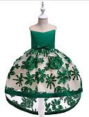 Χαμηλού Κόστους Λουλουδάτα φορέματα για κορίτσια-Γραμμή Α Midi Φόρεμα για Κοριτσάκι Λουλουδιών - Μείγμα Βαμβακιού Αμάνικο Με Κόσμημα με Πέταλα / Εφαρμοστό / Διακοσμητικά