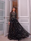 Χαμηλού Κόστους Casual Φορέματα-Γυναικεία Πάρτι Βασικό Δαντέλα Γραμμή Α Φόρεμα - Γεωμετρικό, Δαντέλα Μίντι Κολάρο Πουκαμίσου