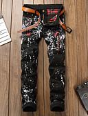 זול מכנסיים ושורטים לגברים-בגדי ריקוד גברים סגנון רחוב / פאנק & גותיות צ'ינו מכנסיים - דפוס שחור US32 / UK32 / EU40 US34 / UK34 / EU42 US36 / UK36 / EU44