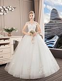 Χαμηλού Κόστους Βραδινά Φορέματα-Γραμμή Α Με Κόσμημα Μακρύ Πολυεστέρας / Δαντέλα / Τούλι Κανονικοί ιμάντες Φορέματα γάμου φτιαγμένα στο μέτρο με Κρυστάλλινη λεπτομέρεια / Δαντέλα 2020