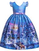 Χαμηλού Κόστους Βρεφικά σετ ρούχων-Παιδιά Κοριτσίστικα Ενεργό Γλυκός Χιονονιφάδα Χριστούγεννα Στάμπα Κοντομάνικο Μίντι Φόρεμα Θαλασσί